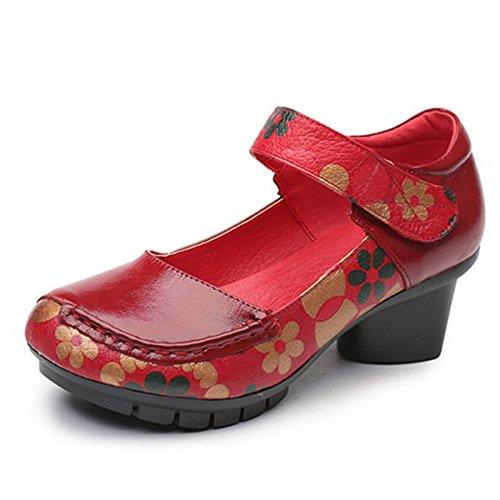 Motifs Confortable à Ville en Chaussures Mary Printemps Rouge Cuir Style Classiques Noirs Rouges Jane Socofy Escarpins Mocassins 2 avec Eté Fleurs Moyens Femme de Talons nw0qxXpI6T