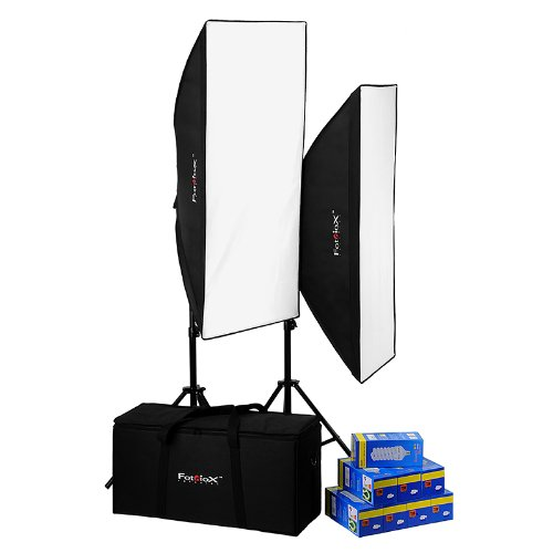 Fotodiox Pro CFL50120 Compact Studio Continous Fluorescent Softbox Lighting Kit for Film, Video and Photography; 2 Light (8 Bulb) 20in x 48in Light Kit - Includes 2x (4 Bulb) Lights, 2x Stands, 2x 50cm x 120cm Softboxes, 8x 30w CFL Bulbs & Carrying Case by Fotodiox