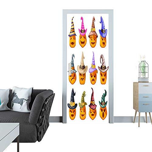 Glass Door Sticker Decals Witch hat Decoration Halloween Jack o Lantern Pumpkin Scary Faces Smile Emoji Icons Set Isolated Cartoon Design Vector Illustration 3D Door Sticker 27x59(69x150 cm) -