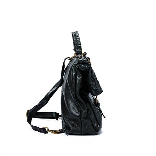Ira del Valle, Damenhandtasche in Vintage-Leder, Made in Italy, Modell Tasche San Antonio, große Tasche und Schultergurt mit Schultergurt für Mädchen Schwarz