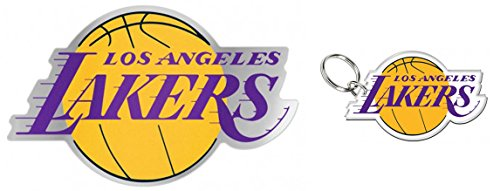 Lakers Auto - WinCraft Bundle 2 Items: Los Angeles LA Lakers 1 Auto Badge Decal and 1 Key Ring