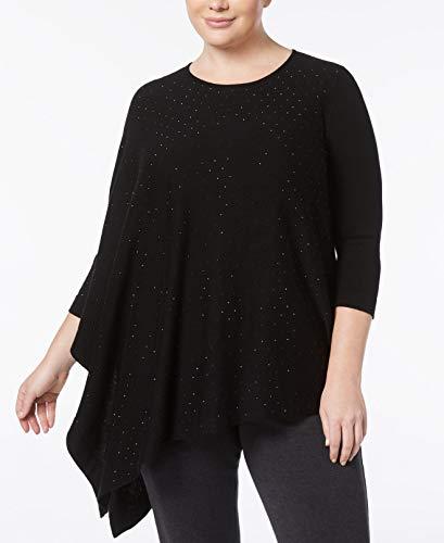 (Anne Klein Womens Plus Embellished One Shoulder Pullover Sweater Black 2X)