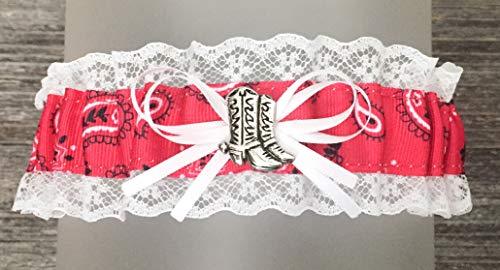 White Lace Red Paisley Pattern Wedding Keepsake Bridal Garter - Boots Charm