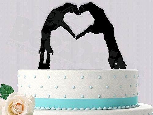 Zombie Heart Hands Wedding Cake Topper -