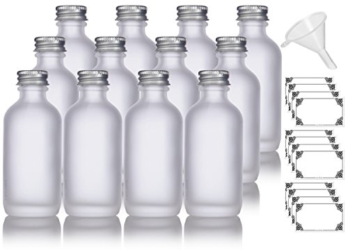 2 oz Frosted Clear Glass Boston Round Silver Screw On Cap Bottle (12 pack) + Funnel and Labels for cosmetics, serums, essential oils, aromatherapy, food grade, bpa free
