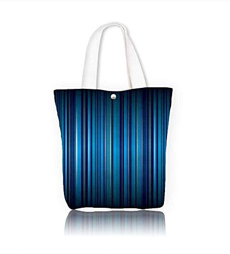 Ladies canvas tote bag bright blue stripe abstract with ribbon effect reusable shopping bag zipper handbag Print Design W15xH14xD4.7 INCH