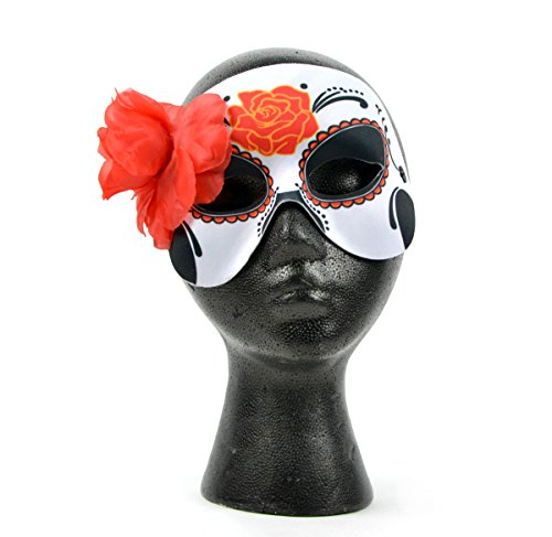 Mask-It 76107 Mask-It (Mau63) Mask-It Day of The Dead Red Rose Half Mask W/Red Flower 7.5