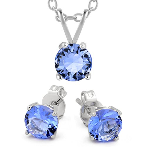 yoursfs 18K White Gold Plated Necklace and Earring Set Silver - 7