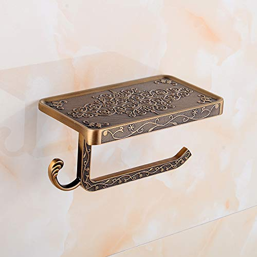 WEN-UD Bathroom Toilet Holder Paper Towel Holder Paper Hook and Phone Holder Toilet Paper Holder Brass