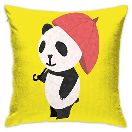 Karen Felix Throw Pillow Covers Panda with Red Umbrella Decorative Cushion Case for Sofa Bedroom Car 18 X 18 Inch 45 X 45 cm]()