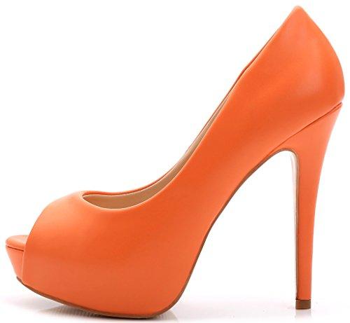 Della Che Arancione Alti Pattini Partito Wedding Toe Stiletto Piattaforma Yooprettyz Peep Pompa Comodità I Donne Delle Vestito Hwqx0tR1T