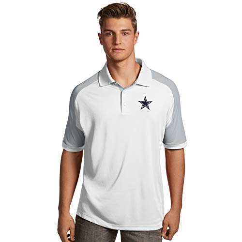 NFL Dallas Cowboys Mens Antigua Century Polo, White/Silver, ()