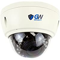 GW Security 5 Megapixel IP Onvif Weatherproof Dome PoE Security Camera Built-In Microphone for Audio Recording and 2.7-13.5mm Varifocal Zoom Lens