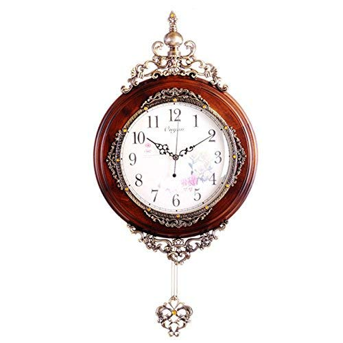 Luoqing アンティーク木製壁時計振り子ファッション現代の高級壁時計家の装飾サイレントクォーツ時計ムーブメント (Color : Brown)  Brown B07PXMWKF4