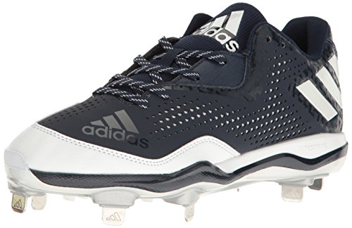 adidas Mens PowerAlley 4 Baseball Cleats Collegiate Navy/White/Silver Metallic