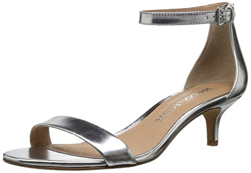 206 Collective Women's Eve Stiletto Heel Dress Sandal-Low Heeled, Silver Mirror Leather, 7.5 B US