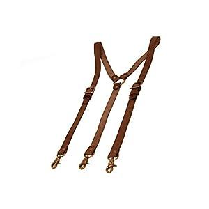 "Project Transaction Men's 1"" Leather Suspenders Dark Brown"