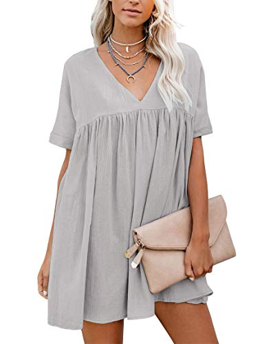 (YIBOCK Women's Short Sleeve V Neck Pleated Loose Babydoll Solid Color Tunic Mini Dress Grey)