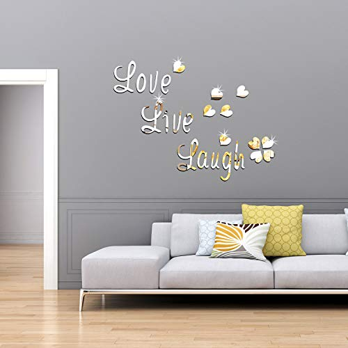 DIY Silver Love Live Laugh Heart Mirror Combination 3D Mirror Wall Stickers Home Decoration (Silver Love Live Laugh… 5