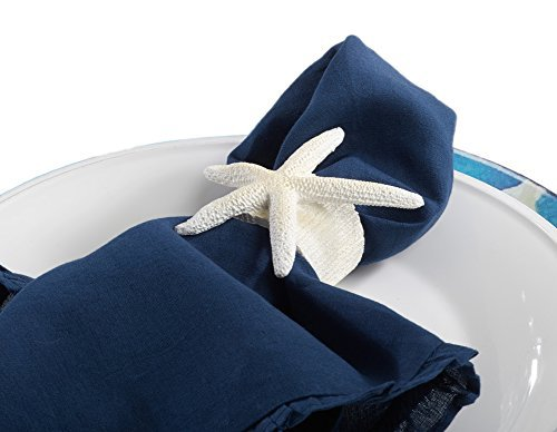 Fennco Styles Unique Starfish Nautical Napkin Ring, White, Set of 4