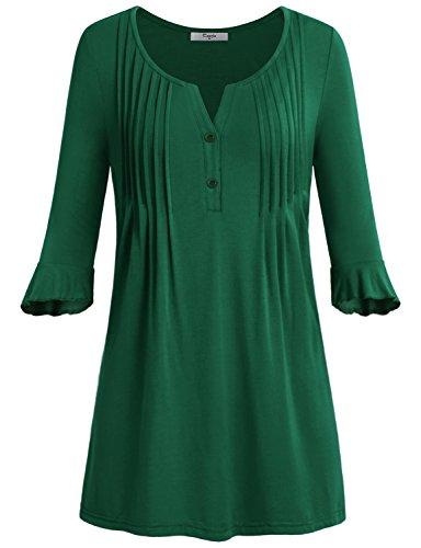 Cheap  Cestyle Henley Tops For Women, Womens ShirtsGirls Bell Sleeve Henley V Neck..