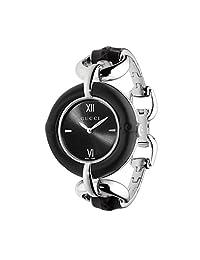 Gucci Women's Steel Bracelet & Case Sapphire Crystal Swiss Quartz Black Dial Analog Watch YA132405