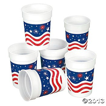 12 Plastic Patriotic Cups/4TH.OF JULY, Independence Day TABLEWARE and Party Supplies/Red, White and Blue/One Dozen TUMBLERS
