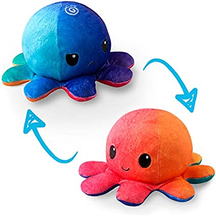 Blue and Watermelon Red Cute Octopus Plush Toy Reversible Octopus Plush