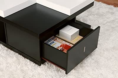 ioHOMES Morgan Square Coffee Table with Serving Tray, Black