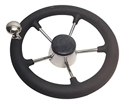 Pactrade Marine Boat Stainless Steel Steering Wheel with PU Sleeve Control Know, Black