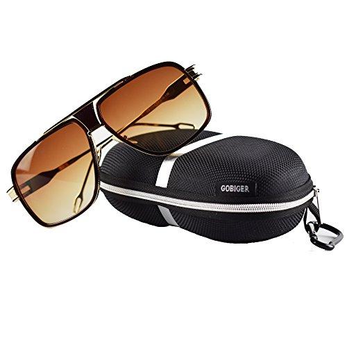 Gobiger Aviator Sunglasses for Men 100%UV Protection Goggle Alloy Frame 59mm Lens Width (Gold Frame, - Mens Gradient Sunglasses