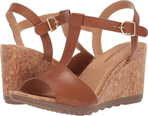 Hush Puppies Women's Pekingese T-Strap Tan Leather 11 Wide US