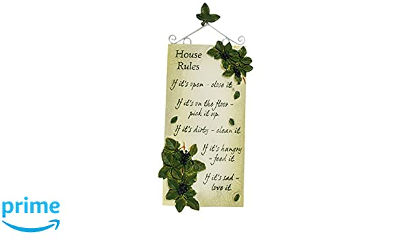 Amazon com: Handcrafted Large Resin Plaque House Rules: Home