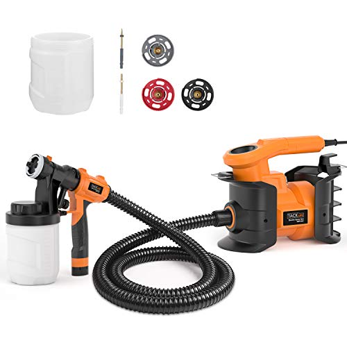 Paint Sprayer Tacklife SGP16AC 800W Electric Sprayer Gun, 1100ml/min, 120Volt with 3 Copper Nozzle Sizes, 2 PCS 1200ml Detachable Containers for Painting