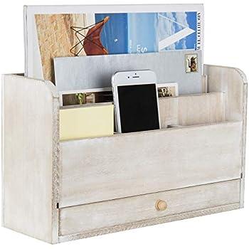 Amazon.com: 3 Tier Wooden Mail Desktop Organizer & Sorter ...  Desktop Mail Organizer For Kitchen