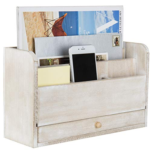 MyGift Unfinished Wood Desktop Document & Supply Organizer with Pull Out Drawer