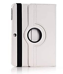 360 Rotating Smart PU Leather Case Cover Samsung Galaxy Tab 4 10.1 T530 & Screen Protector - White