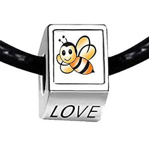 Chicforest Silver Plated Lovely Honeybee Photo LOVE Charm Beads Fits Pandora Biagi Troll Chamilia Kay's Beads Charms