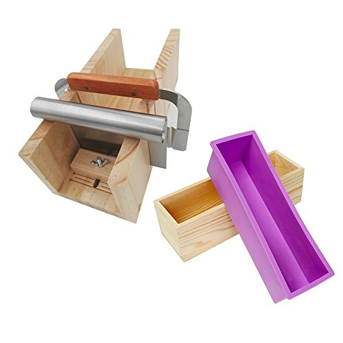 ESA Supplies Wooden Soap Loaf Cutter Mold Set (Large Size) + 1 pc Rectangle Silicone Mold with Wood Box + 1 pc Straight Cutter + 1 pc Wavy Cutter Cutter Mold