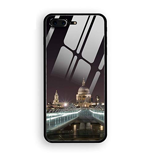 - iPhone 8 Plus Case, Cathedral St Pauls Cathedral London Tempered Glass Back Case with Reinforced TPU Bumper Scratch Resistant Hard Back Panel Cover Compatible for iPhone 8 Plus