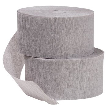 2 ROLLS Gray Crepe Paper Streamers 141 Feet Total - Made in USA