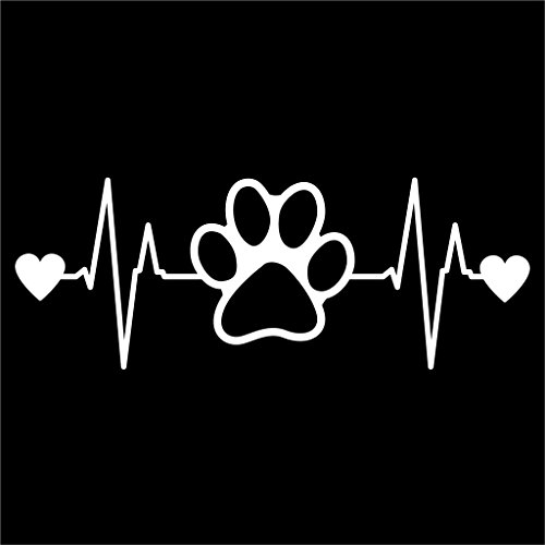 (Dog Paw Print Heartbeat Decal Vinyl Sticker|Cars Trucks Vans Walls Laptop| White |6.5 x 2.5)