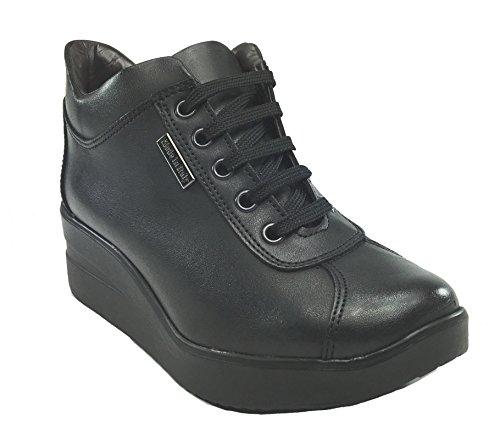 Tomax - Zapatos de cordones de Piel para mujer negro