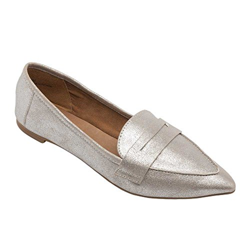 Pic/Pay Margo Women's Flats - Pointy Toe Penny Loafer Silver Washed Metallic Pu