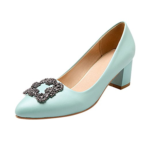 Mee Shoes Damen modern bequem Geschlossen Metall-Dekoration Strass chunky  heel Pumps Blau