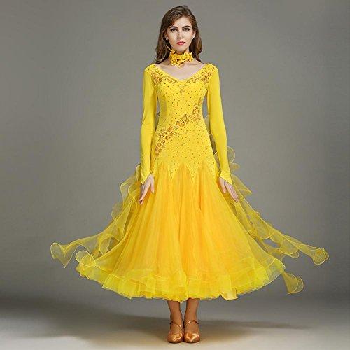 1 Da Lunghe Wqwlf Yellow Paillettes Donna Tops l Rhinestones Xl Pezzo Formazione Sequined Sala Spandex Cristalli dei Tulle Ballo Danza Abiti Maniche TYdqYw