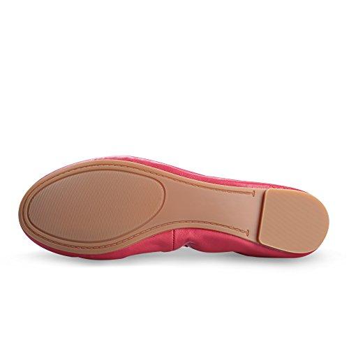Schuhe Loafers Ballett Peach Ballerinas Xielong Lammfell Flach Chaste Damen Casual Leder Geschlossene 76nqwZA