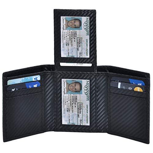 Genuine Leather Trifold Wallets for Men- RFID Blocking Secure Slim mens wallet credit card 2 ID window (01 Black Carbon Fibre)