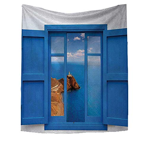 RuppertTextile Lighthouse Tapestry Wall Hanging 3D Printing View from Window Cabo Lighthouse Photo Mount Mediterranean Image Art Print Beach Throw Blanket 40W x 60L INCH Blue White