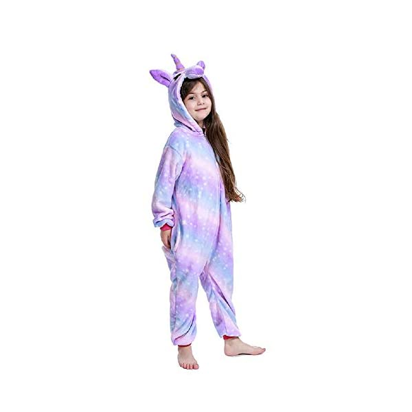 FuRobes Kids Unicorn Onesie Pajamas,One Piece Children Cosplay Animal Costume Halloween Sleepwear for Girls and Boys Gift 3
